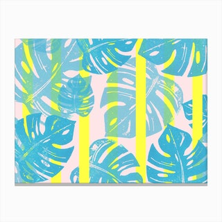 Linocut Monstera Neon in Canvas Print