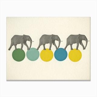 Travelling Elephants Canvas Print