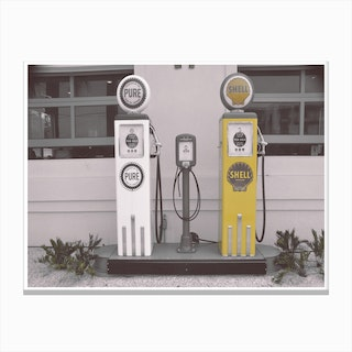 Vintage America Shell Yellow Gas Pumps Canvas Print