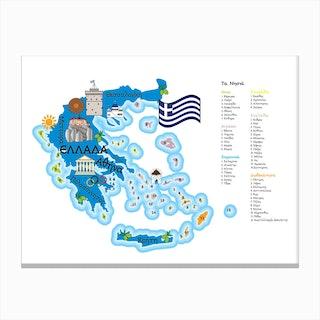 Greece Map Canvas Print