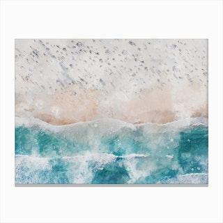 Aerial Beach View Watercolour I Canvas Print
