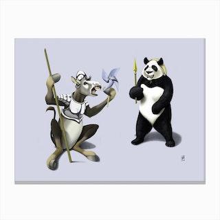 Donkey Xote and Sancho Panda (Colour) Canvas Print