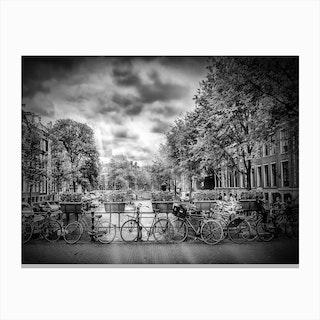 Amsterdam Typical Cityscape in monochrome Canvas Print