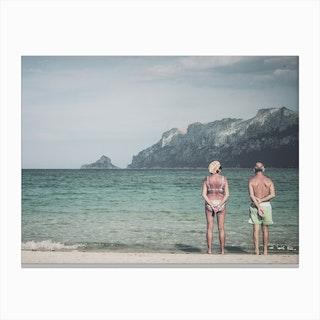 Old Couple On The Beach Canvas Print