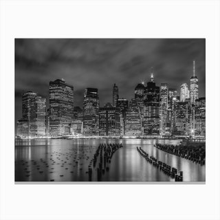 New York City Monochrome Night Impressions Canvas Print