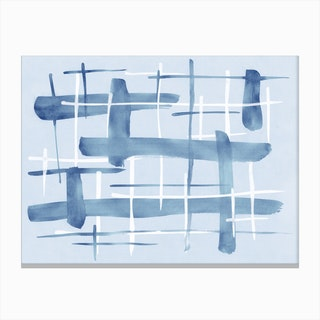 Abstract Lines Blue And White 07 Canvas Print