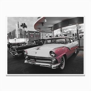 Vintage America Pink Car at Diner Canvas Print