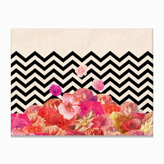 Chevron Flora II - horiz in Canvas Print