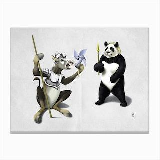 Donkey Xote and Sancho Panda (Wordless) Canvas Print