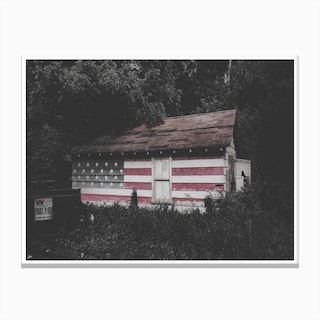 Vintage America USA Flag Cabin in the Woods Canvas Print