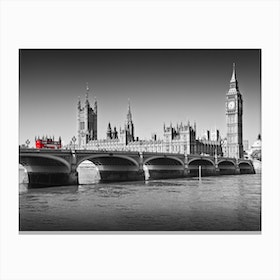 London Westminster Bridge And Red Bus Canvas Print
