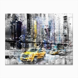 Modern Art Brooklyn Bridge and Skyline New York Canvas Print
