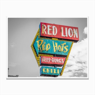 Vintage America Red Hots Burgers Sign Canvas Print