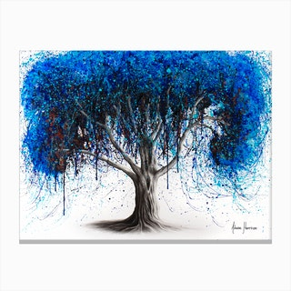 Blue Moonlight Tree Canvas Print
