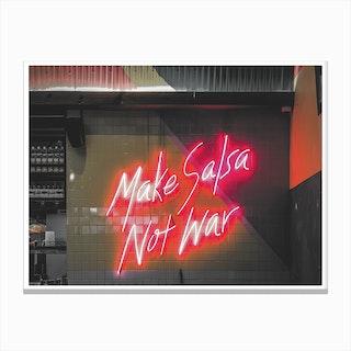 Vintage America Make Salsa Not War Neon Sign Canvas Print