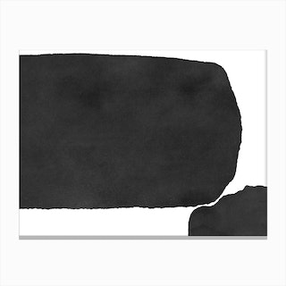 Minimal Black And White Abstract 02 Canvas Print