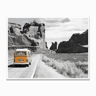 Vintage America Orange Camper Van Canvas Print