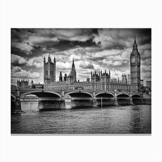 London Houses of Parliament & Westminster Bridge Canvas Print