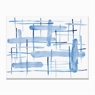 Abstract Lines Blue And White 06 Canvas Print