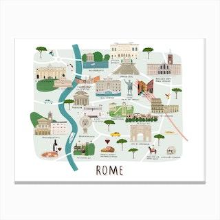 Rome Map Print Canvas Print