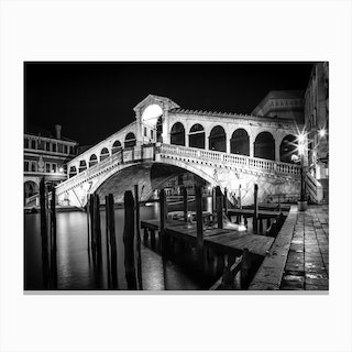 Venice Rialto Bridge at Night Canvas Print