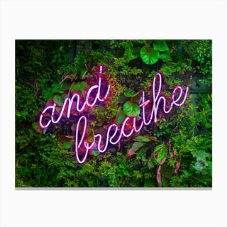 And Breathe Neon Sign Landscape Canvas Print
