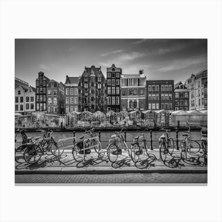Amsterdam Singel With Flower Market Canvas Print