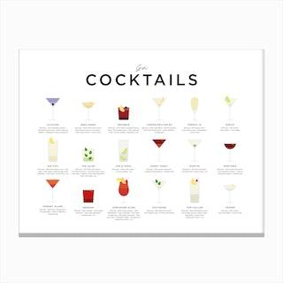 Gin Cocktails Landscape Canvas Print