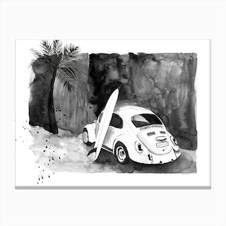 Vintage Vw Beetle Canvas Print