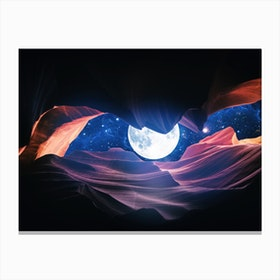 Grand Canyon With Space & Full Moon Collage I Canvas Print