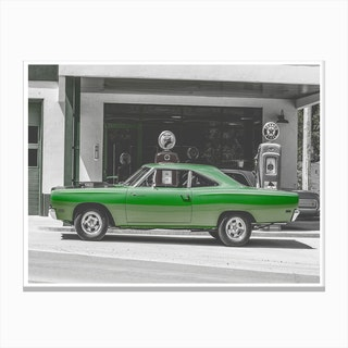 Vintage America Green Car Canvas Print