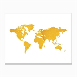 Golden World Map White Canvas Print