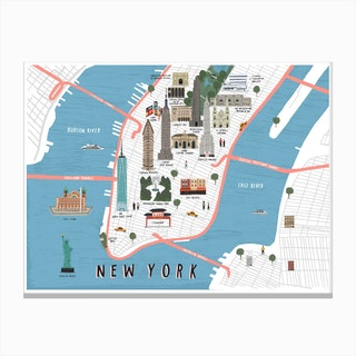 New York Map Print Canvas Print