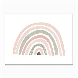 Scandi Nursery Rainbow  Pink & Sage Green Canvas Print