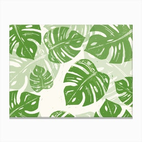 Linocut Monstera in Canvas Print