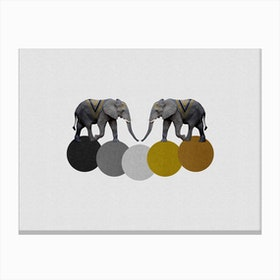 Tribal Elephants Canvas Print