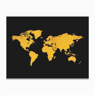 Golden World Map Black Canvas Print