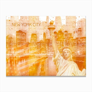 Golden Manhattan Collage Canvas Print