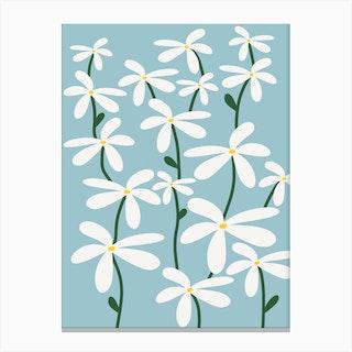 Blue Daisy Meadow Canvas Print