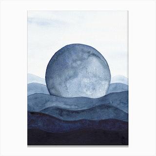 Blue Moon Landscape Canvas Print