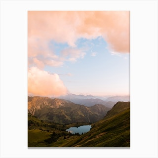 Sunset And A Mountain Lake In The Alps Canvas Print