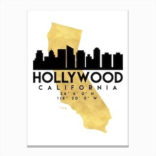 Hollywood California Silhouette City Skyline Map Canvas Print