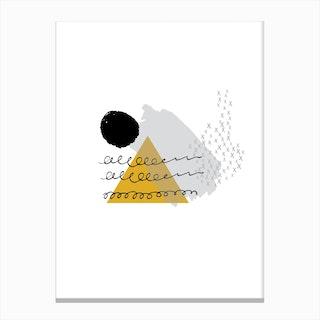 Abstract Mustard Mountain and Sun Canvas Print