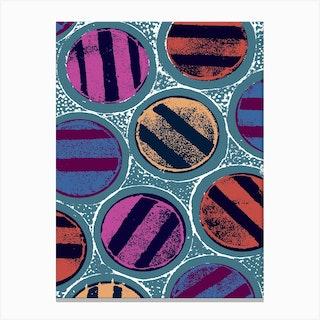 Large Striped Circles Canvas Print