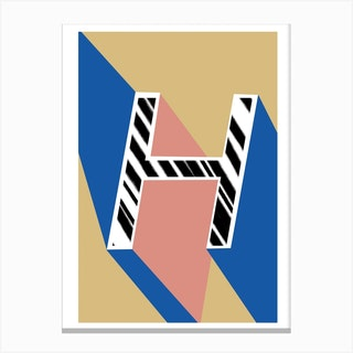 H Geometric Font Canvas Print