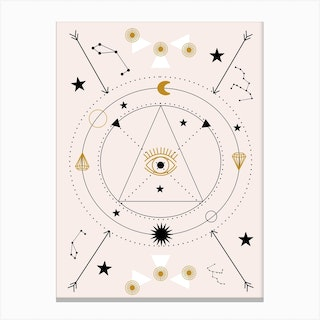 Devil Eye And Celestials  In A Geometric Composition Canvas Print