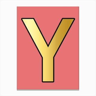 Letter Y Gold Alphabet Pink Canvas Print