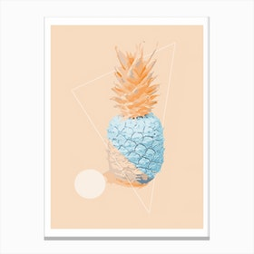 Orange and Neon Blue Pineapple Canvas Print