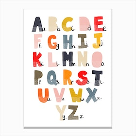 Scandi Alphabet Chart  With Dots Canvas Print