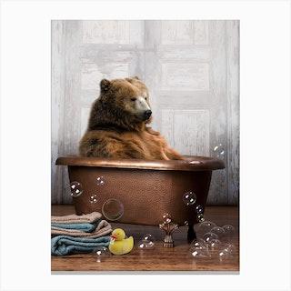 Bear In A Bathtub Canvas Print